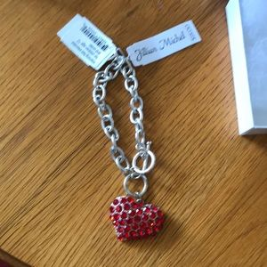 Jillian Michel Red Rhinestone Heart Bracelet
